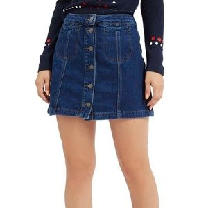 TOPSHOP Moto Button Front Denim Skirt